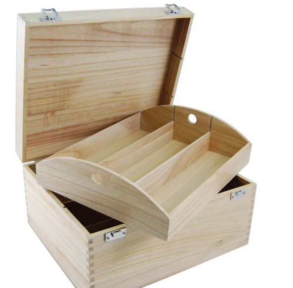 6 bottle Hinged Lid Wooden box
